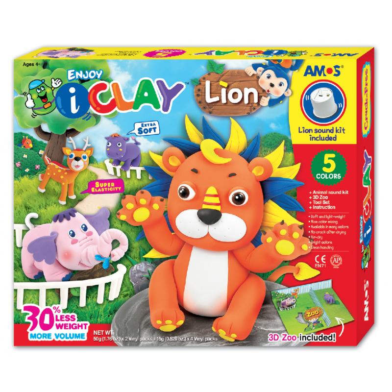 Kit completo para diseñar y fabricar un león de arcilla polimerica i-Clay