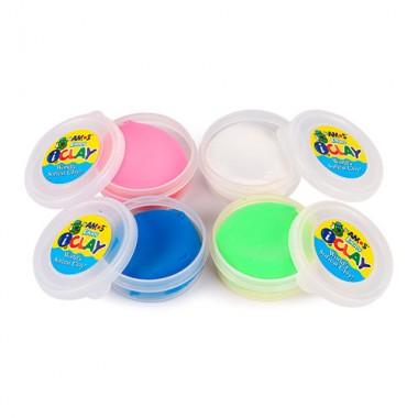 contenido kit arcilla polimerica 4 colores neon