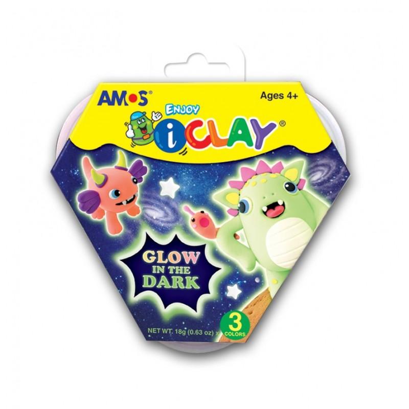 Kit de 3 colores de arcilla polimerica con brillo en la oscuridad i-Clay