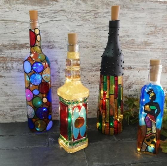 botellas decorada con pintura para cristal