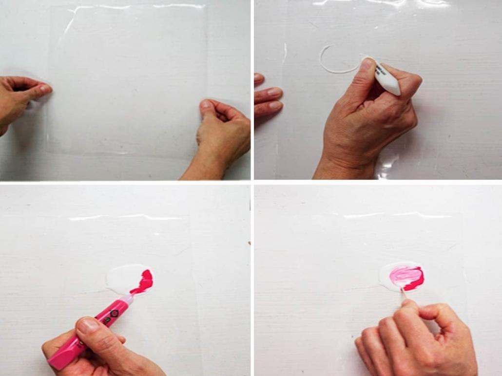 como crear rosa claro con pintura para cristal glass deco