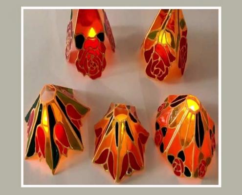 como realizar con acetato y pintura para cristal una lampara muy economica