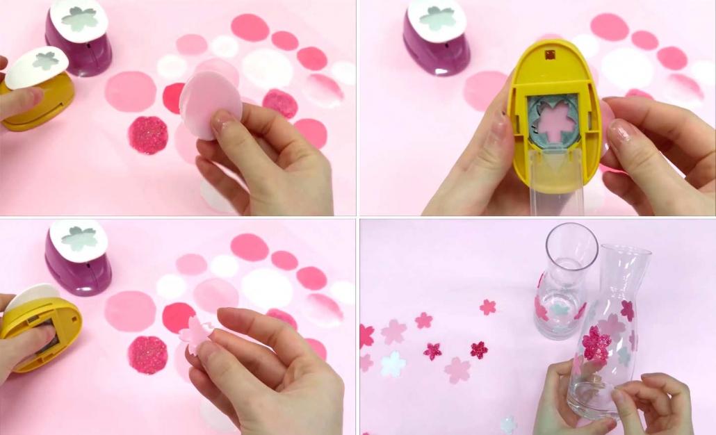 cortamos los circulos de pintura para cristal con una perforadora de scrapbook
