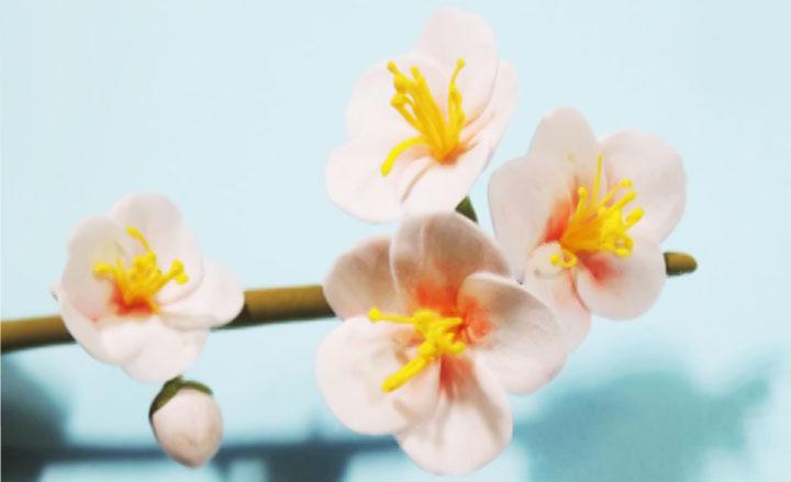 flor de cerezo de arcilla polimérica