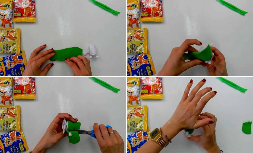 pegar cuerpo rana al mecanismo del kit para modelar