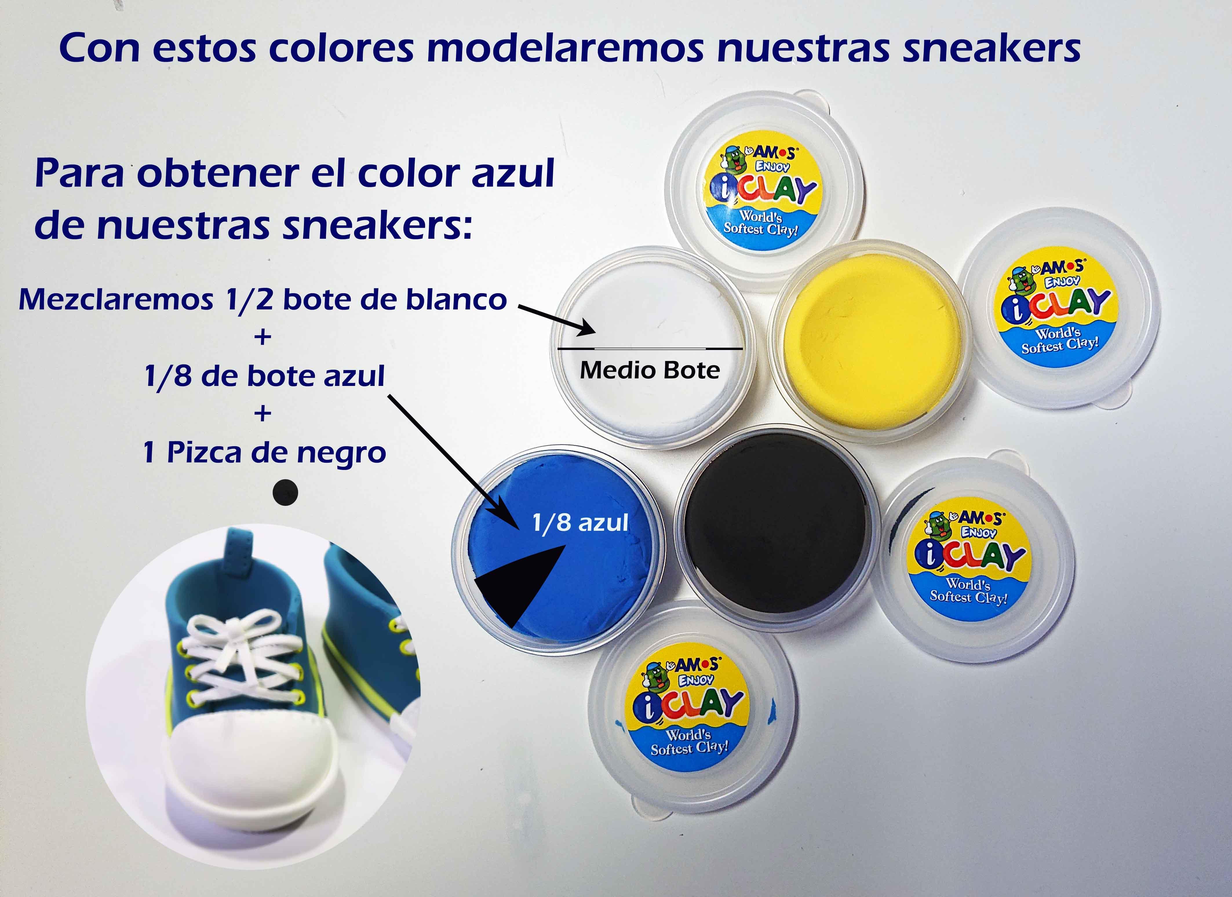 Mezcla colores para obtener azul sneakers